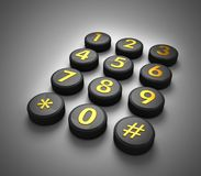 Telecommunications Concept. Telephone contact number button in dark gradient background 3d illustration Royalty Free Stock Photo