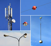 Telecommunications electricity & building industry Royalty Free Stock Photos