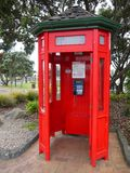 Telecommunications: historic phone booth Stock Images