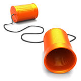 Telecommunications Metaphor. 3D Illustration of two cans connected with a cord, metaphor for communication Royalty Free Stock Photos