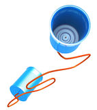 Telecommunications Metaphor. 3D Illustration of two cans connected with a cord, metaphor for communication Stock Image