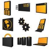 Telecommunications Mobile Industry Icons Set - Bla. Telco mobile industry icon and symbol set series - Black Orange vector illustration