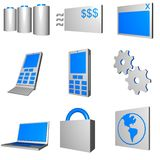 Telecommunications Mobile Industry Icons Set - Gra. Telco mobile industry icon and symbol set series - Gray Blue stock illustration