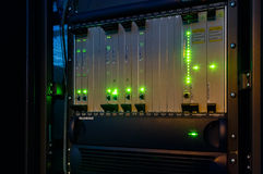 Telecommunications network equipment in the data center rack Stock Images
