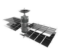 Telecommunications satellite isolate , clipping path Royalty Free Stock Photo