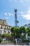 Telecommunications and telephony antenna on a playground in Sici. Cefalu, Italy - August 8, 2017: Telecommunications and telephony antenna on a playground in the Royalty Free Stock Photography