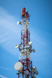 Telecommunications tower. With blue sky day background stock image