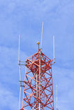 Telecommunications tower against blue sky Stock Photography