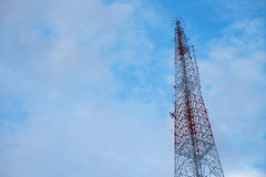 Telecommunications tower. With blue sky Royalty Free Stock Photo