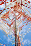 Telecommunications tower with clear blue sky Royalty Free Stock Photo