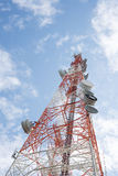 Telecommunications tower with clear blue sky Royalty Free Stock Photos