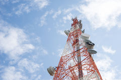 Telecommunications tower with clear blue sky Stock Photos