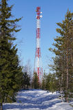 Telecommunications tower communication forest Royalty Free Stock Photo