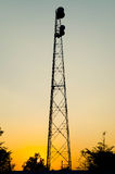 Telecommunications tower in fields Royalty Free Stock Photo