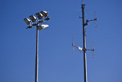 Telecommunications Tower & Floodlights Stock Image