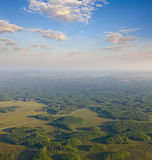 Telecommunications tower on a forest, top view Stock Photos