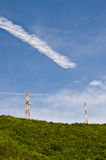 Telecommunications tower. On the mountain background image royalty free stock photos