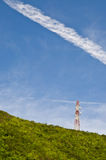 Telecommunications tower. On the mountain background image royalty free stock photo