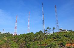 Telecommunications tower. On mountain with blue sky Royalty Free Stock Photography