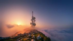 Telecommunications tower on mountain top. Telecommunications tower on Oiz mountain top stock photos