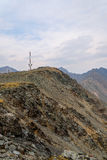 Telecommunications tower mountains top Stock Photo