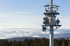 Telecommunications tower with parabolic. In Austria Royalty Free Stock Photos