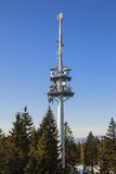 Telecommunications tower with parabolic Royalty Free Stock Photos