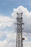 Telecommunications Tower. Single tall telecommunications tower with clouds in background Royalty Free Stock Images