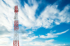 Telecommunications tower with sky background and copyspace Royalty Free Stock Photo