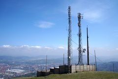 Telecommunications tower. On a sunny day Stock Photography