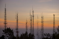 Telecommunications tower at sunrise Royalty Free Stock Image