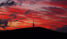 Telecommunications tower at sunset Royalty Free Stock Photo