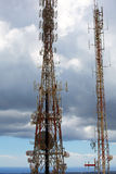 Telecommunications tower telephony repeaters in Menorca Stock Images