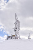 Telecommunications tower on top of a mountain in Florina, Greece, in winter Stock Images