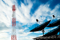 Telecommunications tower with tree satellite dish on roof. Communication Royalty Free Stock Photos