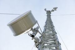 A telecommunications tower. View from below Royalty Free Stock Images