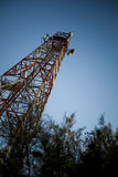 Telecommunications towers. Telecommunications pylons with antenna for TV and mobile phone signals stock image