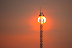Telecommunications towers. Silhouette Telecommunications towers at sunset Royalty Free Stock Image