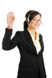 Telecommunications woman with her hand raised Stock Photos
