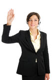 Telecommunications woman with her hand raised Royalty Free Stock Photography