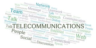 Telecommunications word cloud. Wordcloud made with text only vector illustration