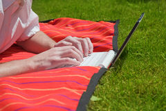 Telecommuting. Male hands, working on netbook on a lawn stock photos
