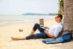 Free Telecommuting, Businessman Relaxing On The Beach With Laptop And Palm, Freelancer Workplace, Dream Job. Royalty Free Stock Images - 144324799