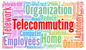 Telecommuting word cloud concept. Illustration Stock Image