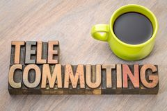 Telecommuting word in wood type. Telecommuting - word in vintage letterpress wood type printing blocks with a cup of coffee stock photo