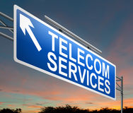 Telecoms service concept. Illustration depicting a sign with a telecom services concept stock illustration