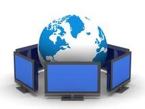 Telecomunicação global no fundo branco Foto de Stock Royalty Free