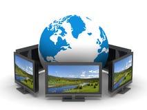 Telecomunicação global no fundo branco Fotos de Stock Royalty Free