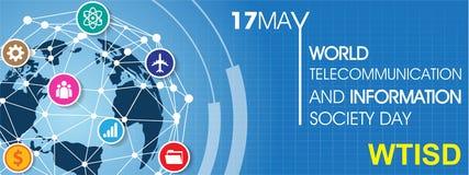 Telecomunicación del mundo y día de la sociedad de la información ilustración del vector