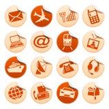 Telecomunicaciones y etiquetas engomadas del transporte Ilustración del Vector